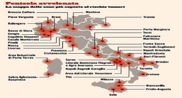 Italia inquinata: bonifiche fantasma e cancro alle stelle – L'articolo shock di Gianni Lannes con la mappa delle aree più inquinate, dove i tumori sono aumentati addirittura del 90%