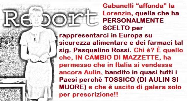 L'accusa della Gabanelli: La Lorenzin? Ha PERSONALMENTE SCELTO per rappresentarci in Europa su sicurezza alimentare e dei farmaci tal Pasqualino Rossi. Chi è? È quello che, IN CAMBIO DI MAZZETTE, ha permesso che in Italia si vendesse ancora Aulin, bandito in quasi tutti i Paesi perchè TOSSICO E MORTALE e che è USCITO DI GALERA SOLO PER PRESCRIZIONE!!