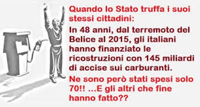 Quando lo Stato truffa i suoi stessi cittadini: In 48 anni, dal terremoto del Belice al 2015, gli italiani hanno finanziato le ricostruzioni con 145 miliardi di accise sui carburanti. Ne sono però stati spesi solo 70! E gli altri che fine hanno fatto??