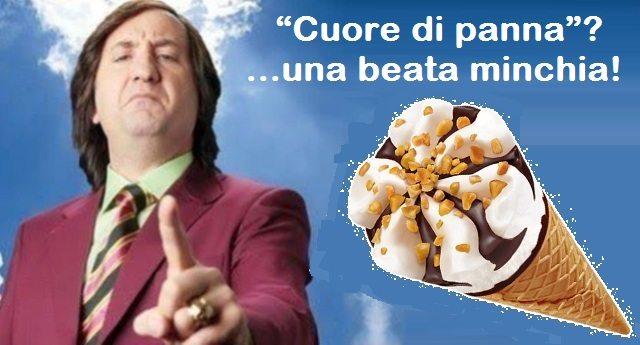 """Cornetto Algida, """"Cuore di panna"""" una beata minchia! Tra gli ingredienti ai primi posti zucchero, olio di palma e olio di cocco. La panna, tra gli ingredienti, solo al 9° posto…!!!"""