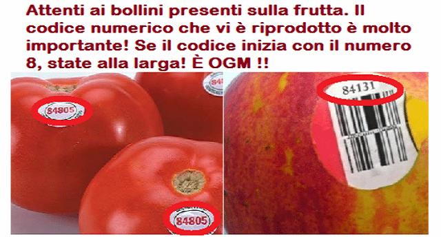 Attenti ai bollini presenti sulla frutta. Il codice numerico che vi è riprodotto è molto importante! Se il codice inizia con il numero 8, state alla larga! È OGM !!