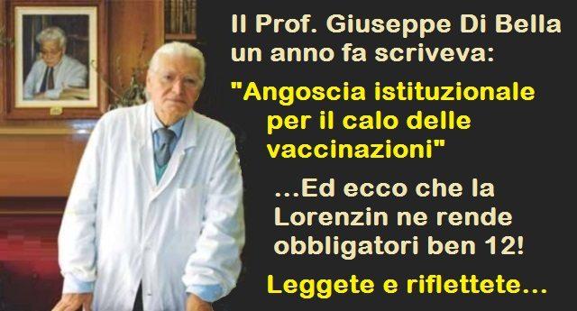 """Il Prof. Giuseppe Di Bella un anno fa scriveva: """"Angoscia istituzionale per il calo delle vaccinazioni"""" …Ed ecco che la Lorenzin ne rende obbligatori ben 12! – Leggete e riflettete…"""