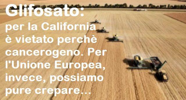 Glifosato: per la California è vietato perchè cancerogeno. Per l'Unione Europea, invece, possiamo pure crepare…
