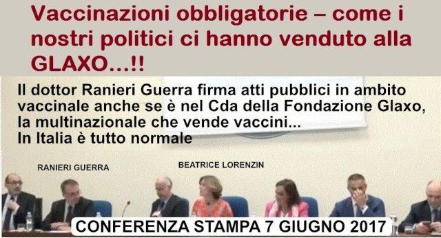 Vaccinazioni obbligatorie – come i nostri politici ci hanno venduto alla GLAXO…!!