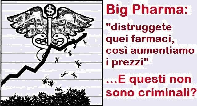 Big Pharma: distruggete quei farmaci, così aumentiamo i prezzi – E questi non sono criminali?