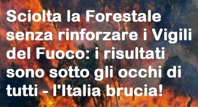 Sciolta la Forestale senza rinforzare i Vigili del Fuoco: i risultati sono sotto gli occhi di tutti – l'Italia brucia!
