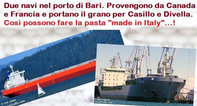 """Due navi nel porto di Bari. Provengono da Canada e Francia e portano il grano per Casillo e Divella. Così possono fare la pasta """"made in Italy""""…!"""