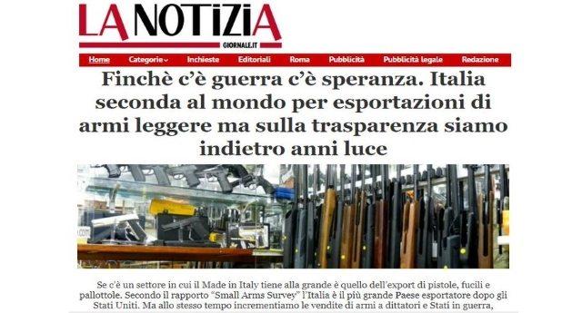 Finchè c'è guerra c'è speranza. Italia seconda al mondo per esportazioni di armi leggere ma sulla trasparenza siamo indietro anni luce