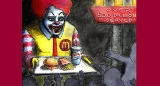 L'hamburger Mc Donald's? Contiene solo il 15% di carne di manzo. In compenso ci puoi trovare tanta ammoniaca e tanti, ma proprio tanti scarti di carcasse animali come ossa, interiora e occhi. Buon appetito e non dimenticare l'happy meal per tuo figlio!