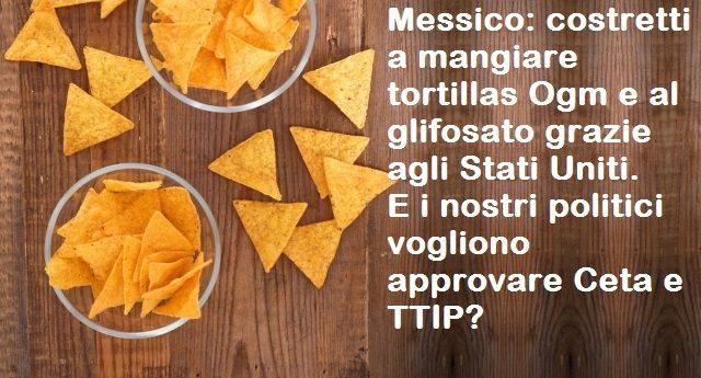 Messico: costretti a mangiare tortillas Ogm e al glifosato grazie agli Stati Uniti. E i nostri politici vogliono approvare Ceta e TTIP?
