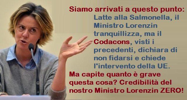 Siamo arrivati a questo punto: Latte alla Salmonella, il Ministro Lorenzin tranquillizza, ma il Codacons, visti i precedenti, dichiara di non fidarsi e chiede l'intervento della UE. Ma capite quanto è grave questa cosa? Credibilità del nostro Ministro Lorenzin ZERO…!