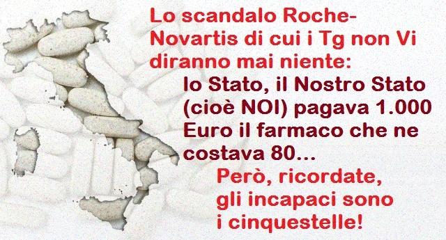 Lo scandalo Roche-Novartis di cui i Tg non Vi diranno mai niente: lo Stato, il Nostro Stato (cioè NOI) pagava 1.000 Euro il farmaco che ne costava 80… Però, ricordate, gli incapaci sono i cinquestelle!
